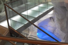 Stainless-Steel-and-glass-bridge-with-multi-colour-lighting-in-f