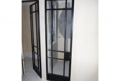 Black-painted-mild-steel-toilet-and-shower-doors-with-glass